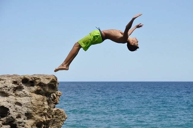A diver in the tropics.