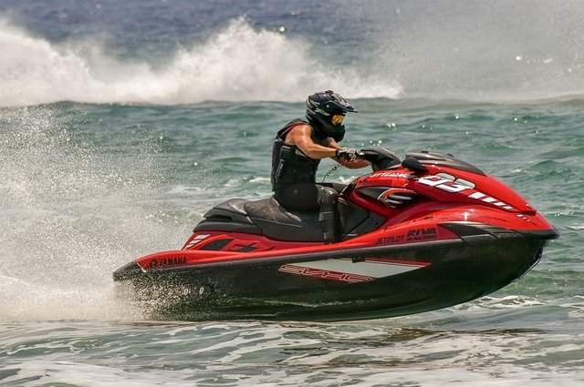 Jet ski with protective gear.