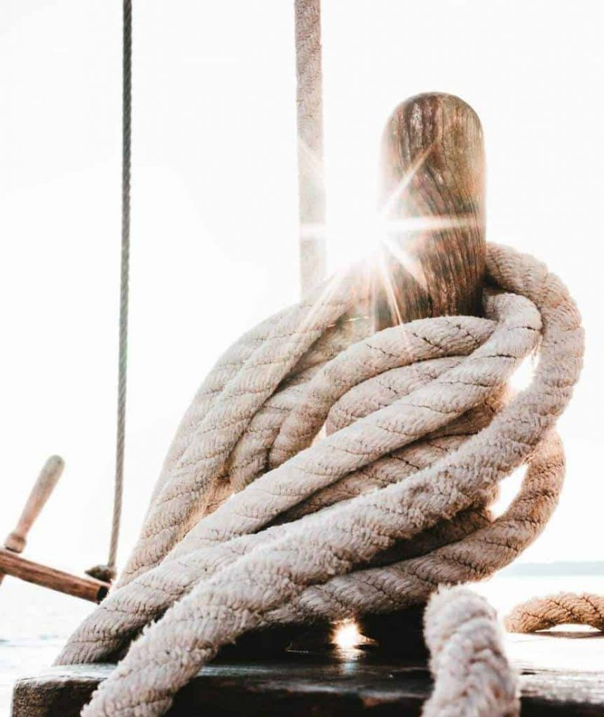 Mooring ropes on a sailing vessel.