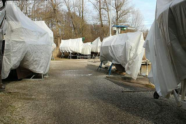 Boats in storage for winter