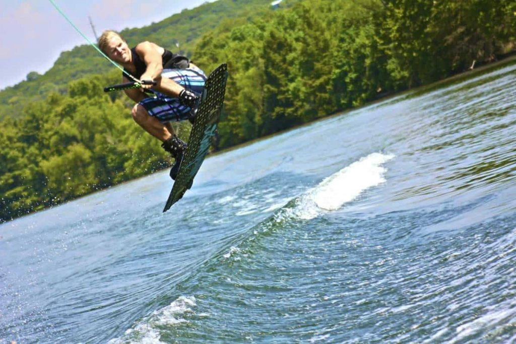 Wakeboarding jump in the air is shown in this file photo.