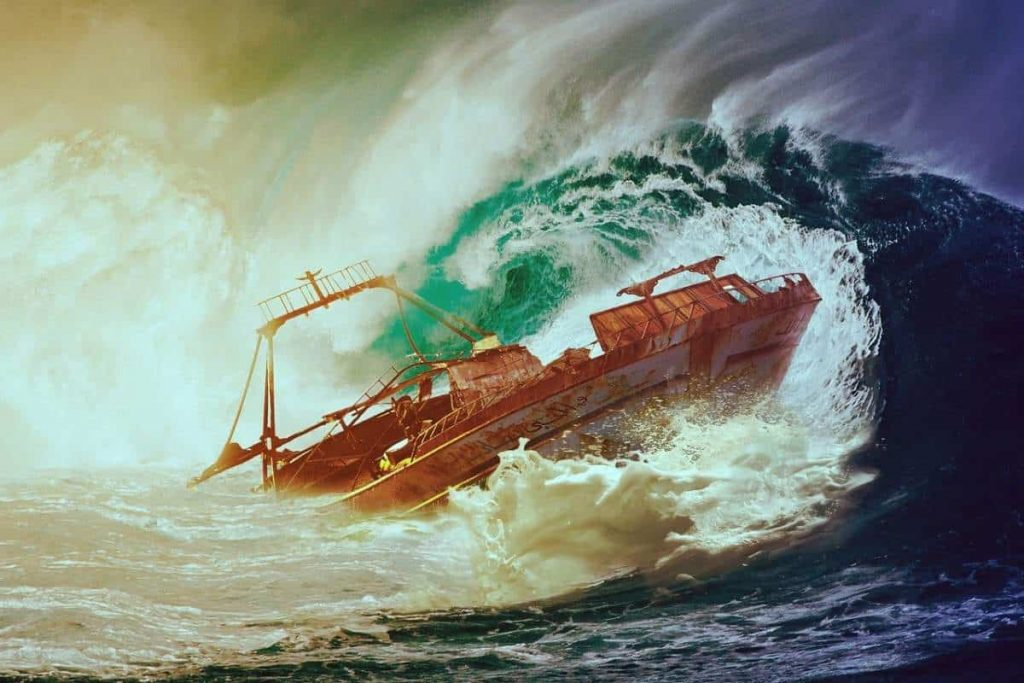 A storm wave engulfs a ship in this illustration.