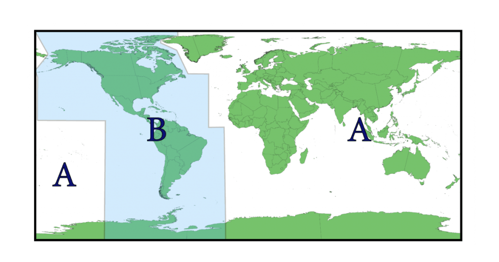 Map of the 2 regions for nautical symbols are shown in this map graphic.