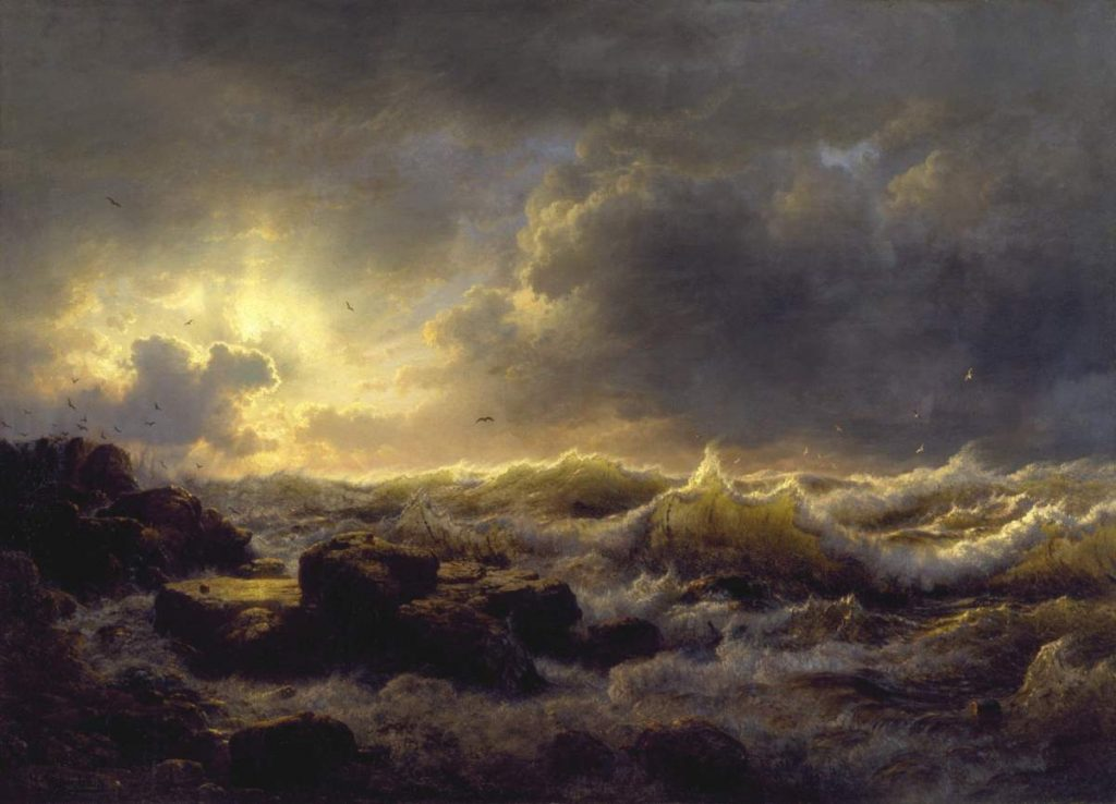 A painting of rough seas is shown in this file photo.