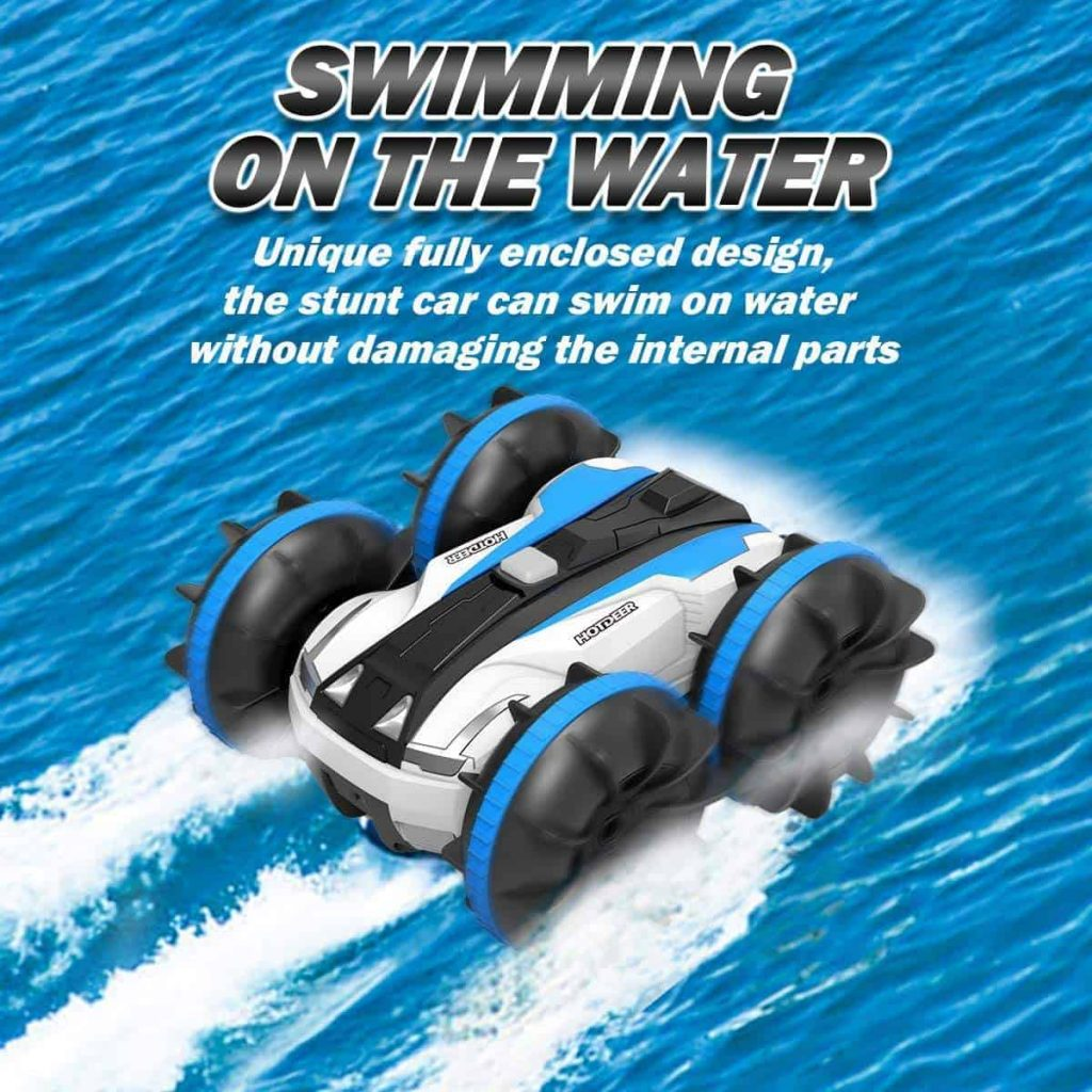 The Amphibious RC Car can go on land or water.