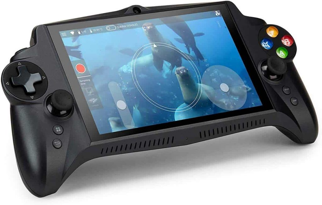 Ergonomic controller with built in viewport for the Trident underwater drone is shown in this file photo.