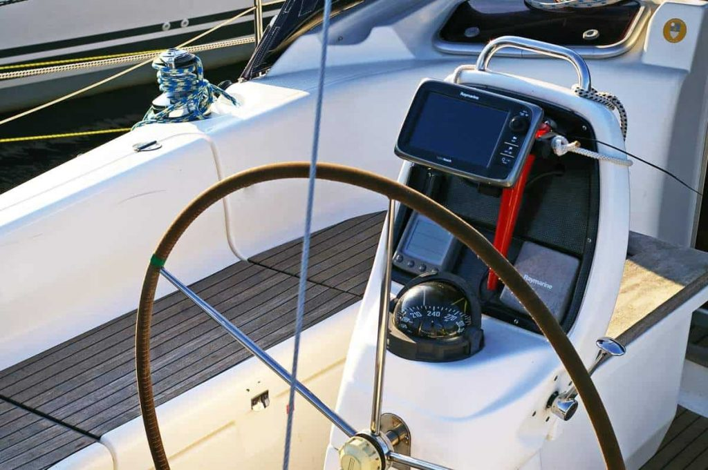 A modern sailboat steering wheel is shown in this file photo.