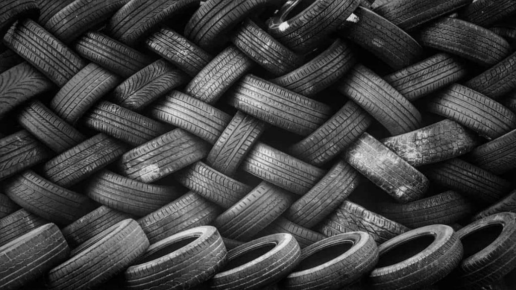 A pile of tires is shown in this photo.