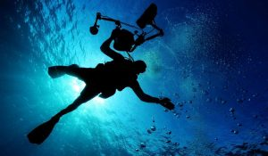 A diver ascends in the depths.