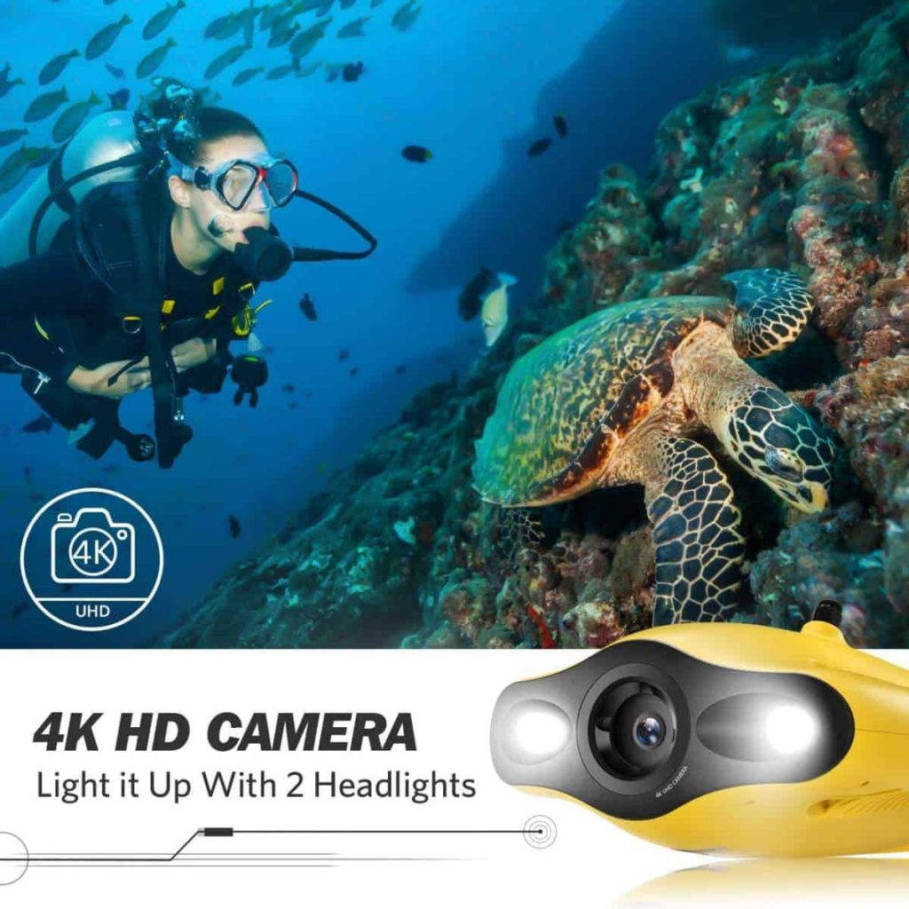 The Gladius is equipped with a 4K HD camera and two powerful lights to back it up.
