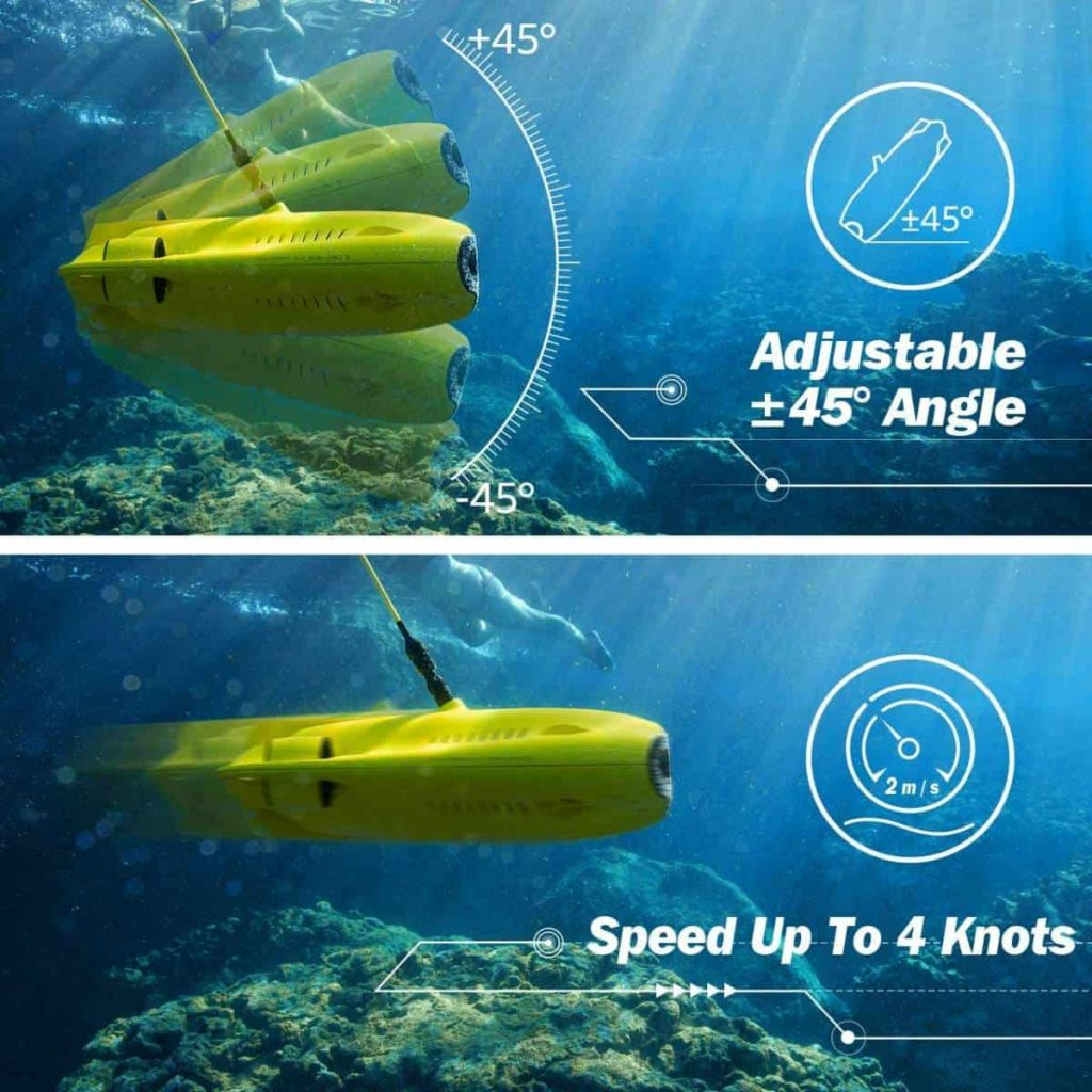 Gladius waterproof underwater drone with a 45 degree adjustable angle and speeds up to 4 knots (2 m/s).
